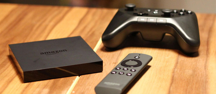 Amazon Fire TV box, remote and game controller