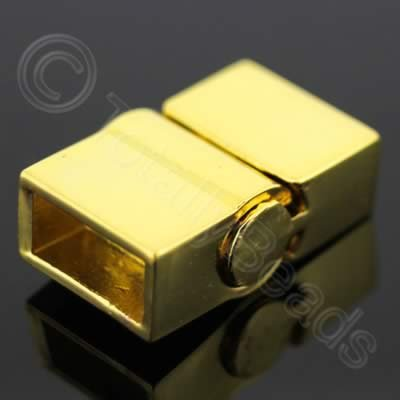 Magnetic Clasp - Sliding Square 20mm - Gold