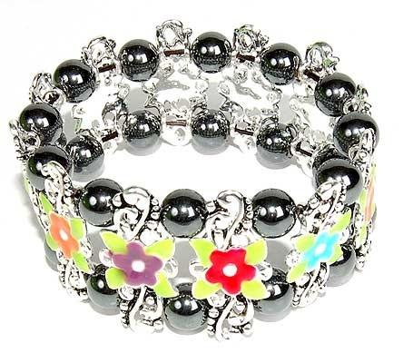 Ladies Hematite Flower Bracelet