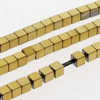 Hematite Cube 2mm - Gold Plated