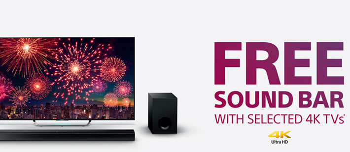 promotions free soundbar with selected sony 4k ultra hd tvs. Black Bedroom Furniture Sets. Home Design Ideas